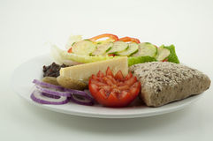 Ploughmans lunch, cheese and bread Royalty Free Stock Photos