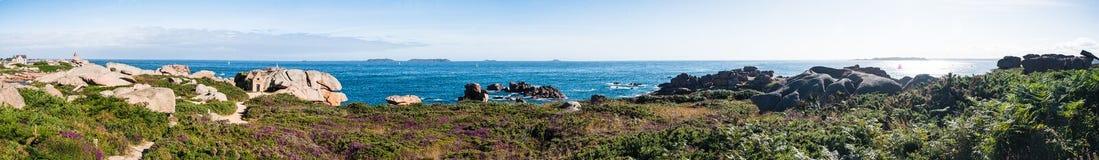 Ploumanac'h Lighthouse panorama Royalty Free Stock Images