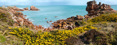 Ploumanach海岸春天全景(布里坦尼,法国) 免版税库存图片