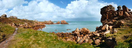 Ploumanach coast spring panorama (Brittany, France) Royalty Free Stock Photos