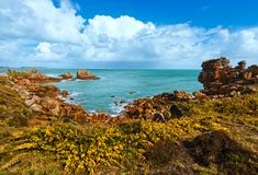 Ploumanach coast spring view (Brittany, France) Stock Photography