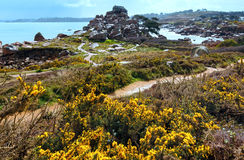 Ploumanach coast spring view (Brittany, France) Stock Photo