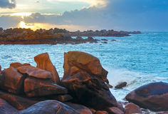 Ploumanach coast sunset view (Brittany, France) Stock Image