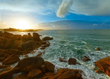 Ploumanach coast sunset view (Brittany, France) Stock Photo