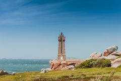 Ploumanach lighthouse  Brittany, France Royalty Free Stock Image