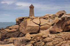 Ploumanach Lighthouse. Perros-Guirec, Brittany, France Royalty Free Stock Photos