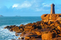 Ploumanach lighthouse (Perros-Guirec, Brittany, France) Royalty Free Stock Photo