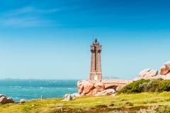 Ploumanach Mean Ruz lighthouse Brittany, France Royalty Free Stock Photo