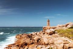 Ploumanach Mean Ruz lighthouse Brittany, France Royalty Free Stock Photography