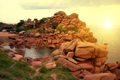 Ploumanach. Pink Granite Coast, Brittany, France Stock Photography