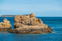 Ploumanach in pink granite coast, Brittany, France. Royalty Free Stock Photos