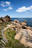 Ploumanach in pink granite coast, Brittany, France. Stock Photography