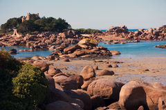 Ploumanach. The Pink Granite Coast at low tide. Brittany, between Ploumanach and Perros-Guirrec, France Stock Images