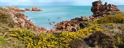 Ploumanach wybrzeża wiosny panorama Brittany, Francja (,) Obrazy Royalty Free