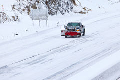 Plov truck on highway. NORWALK,CT,USA - FEBRUARY 09:  Car on I-95 after winter storm in Norwalk on February 09,20123 Stock Photography