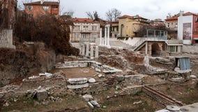 PLOVDIV, ΒΟΥΛΓΑΡΙΑ - 30 ΔΕΚΕΜΒΡΊΟΥ 2016: Καταστροφές ρωμαϊκού Odeon στην πόλη Plovdiv Στοκ Εικόνα