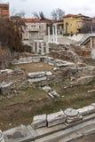 PLOVDIV, ΒΟΥΛΓΑΡΙΑ - 30 ΔΕΚΕΜΒΡΊΟΥ 2016: Πανόραμα των καταστροφών ρωμαϊκού Odeon στην πόλη Plovdiv Στοκ φωτογραφία με δικαίωμα ελεύθερης χρήσης