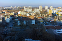 PLOVDIV, ΒΟΥΛΓΑΡΙΑ - 2 ΙΑΝΟΥΑΡΊΟΥ 2017: Πανόραμα στην πόλη Plovdiv από το λόφο nebet tepe Στοκ Φωτογραφία