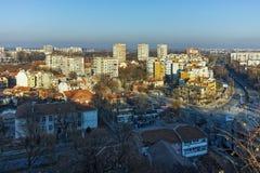 PLOVDIV, ΒΟΥΛΓΑΡΙΑ - 2 ΙΑΝΟΥΑΡΊΟΥ 2017: Πανόραμα στην πόλη Plovdiv από το λόφο nebet tepe Στοκ Εικόνες