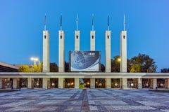 PLOVDIV, ΒΟΥΛΓΑΡΙΑ - 4 ΣΕΠΤΕΜΒΡΊΟΥ 2016: Φωτογραφία νύχτας της Διεθνούς Έκθεσης Plovdiv Στοκ Εικόνες