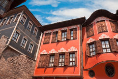 Plovdiv Architecture. Traditional houses in the old part of Plovdiv, Bulgaria Royalty Free Stock Photos