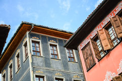 Plovdiv Architecture. Traditional houses in the old part of Plovdiv, Bulgaria royalty free stock photo