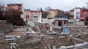 PLOVDIV, BULGÁRIA - 30 DE DEZEMBRO DE 2016: Ruínas de Roman Odeon na cidade de Plovdiv Imagens de Stock