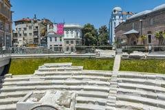PLOVDIV, BULGÁRIA - 10 DE JUNHO DE 2017: Mesquita de Dzhumaya e estádio romano na cidade de Plovdiv, Imagens de Stock
