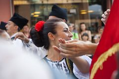 Romanian folklore dancers stock images