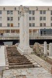 PLOVDIV, BULGARIA - 30 DE DICIEMBRE DE 2016: Panorama de ruinas de Roman Odeon en la ciudad de Plovdiv Foto de archivo libre de regalías