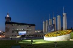 PLOVDIV, BULGARIA - 4 DE SEPTIEMBRE DE 2016: Opinión de la puesta del sol de la feria internacional Plovdiv Fotografía de archivo libre de regalías