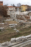 PLOVDIV, BULGARIA - DECEMBER 30 2016:  Panorama of Ruins of Roman Odeon in city of Plovdiv Royalty Free Stock Photography