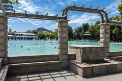 PLOVDIV, BULGARIA - JUNE 10, 2017:    Panoramic view  of Singing Fountains in City of Plovdiv. Bulgaria Stock Image