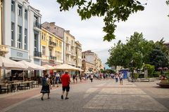Plovdiv, Bulgaria. JUNE 6, 2018: Pedestrians in the modern area of the city of Plovdiv stock image