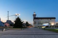 PLOVDIV, BULGARIA - SEPTEMBER 4, 2016: Sunset view of International Fair Plovdiv Royalty Free Stock Photo