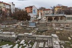 PLOVDIV, BULGARIE - 30 DÉCEMBRE 2016 : Panorama des ruines de Roman Odeon dans la ville de Plovdiv Images libres de droits