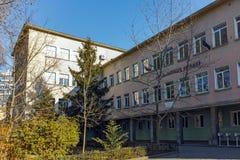 PLOVDIV BULGARIEN - JANUARI 2 2017: Högstadium för St Patriarh Evtimiy, Plovdiv, Bulgarien Royaltyfri Foto