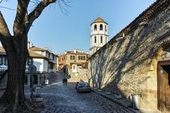 PLOVDIV BULGARIEN - JANUARI 2 2017: St Constantine och St Elena kyrktar från perioden av den bulgariska nypremiären i Plovdiv Arkivbilder