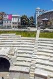 PLOVDIV BULGARIEN - JUNI 10, 2017: Dzhumaya moské- och romarestadion i stad av Plovdiv, arkivfoto