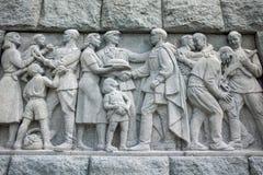 PLOVDIV, BULGARIJE 11 JUNI, 2017: Detail van Monument van het SovjetdieLeger als Alyosha in stad van Plovdiv wordt bekend Stock Foto
