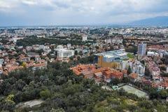 PLOVDIV, BULGARIJE 11 JUNI, 2017: Verbazend Panorama van stad van Plovdiv van de heuvelheuvel van Bunardzhik tepe van libertadors Royalty-vrije Stock Foto