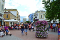 Plovdiv city main street Royalty Free Stock Photos