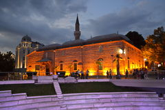 Plovdiv miasta senter przy nocą obraz stock