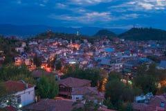 Plovdiv på skymning Arkivfoto