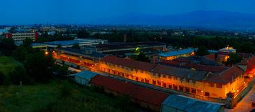 Plovdiv prison at night Royalty Free Stock Image