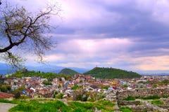 Plovdiv sikt på skymning Royaltyfria Foton
