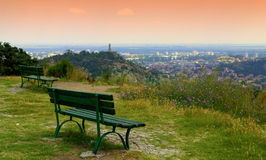 Place to relax. Benches on the hill over Plovdiv scenic sight from Youth hill.Picture taken on July 9th 2014 Bulgaria.resting place,vacation spot,,getaway stock image