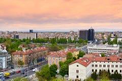 Plovdivstad op zonsondergang stock afbeelding