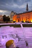 Plovdivstad senter bij nacht stock foto's