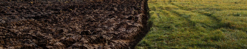 Ploved field. Field plowed half with soil on one side and grass on another - partition and boundary concep Royalty Free Stock Image